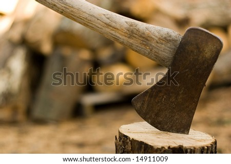 Ax and wood - stock photo