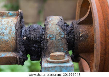 Axis of rotation of  the old machine , and old grease follow in this - stock photo