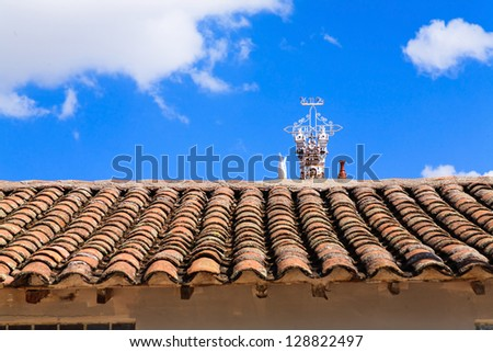 Ayacucho, Peru, View of the quinua little town detail in the house roof - stock photo