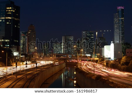 Ayalon freeway & Ramat Gan, Israel after sunset - stock photo