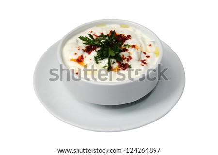 Ayran. Traditional Turkish yogurt drink. - stock photo