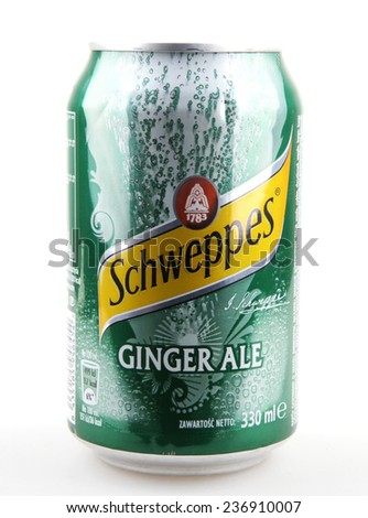 AYTOS, BULGARIA - DECEMBER 11, 2014: Schweppes isolated on white background. Schweppes is a beverage brand that is sold around the world. It includes a variety of carbonated waters and ginger ales. - stock photo