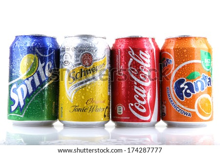 AYTOS, BULGARIA - FEBRUARI 01, 2014: Global brand of fruit-flavored carbonated soft drinks created by The Coca-Cola Company. - stock photo