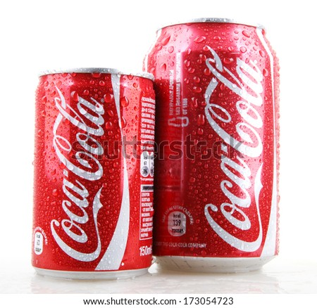AYTOS, BULGARIA - JANUARY 25, 2014: Coca-Cola bottle can isolated on white background. Coca-Cola is a carbonated soft drink sold in stores, restaurants, and vending machines throughout the world. - stock photo