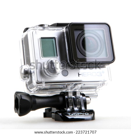AYTOS, BULGARIA - OCTOBER 15, 2014: GoPro HERO3+ Black Edition isolated on white background. GoPro is a brand of high-definition personal cameras, often used in extreme action video photography. - stock photo