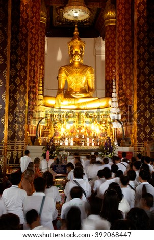 AYUTTHAYA,THAILAND-FEBRUARY10,2010 : Phra Phuttha Nimit is Main Buddha Image at Wat Na Phrameru.The Buddha wears the Royal Attire, typical for the late period of Ayutthaya ,Ayutthaya city,Thailand. - stock photo