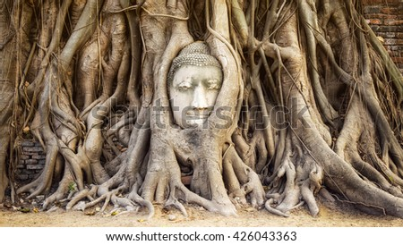 Ayutthaya, Thailand, head of Buddha statue in the tree roots at Wat Mahathat temple. - stock photo