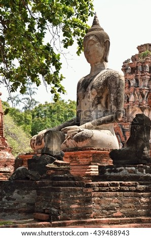 Ayutthaya, THAILAND - JUNE 19 :2016. Buddha images Wat Mahathat. Wat Mahathat is a Buddhist temple in the city of Ayutthaya Historical Park. - stock photo