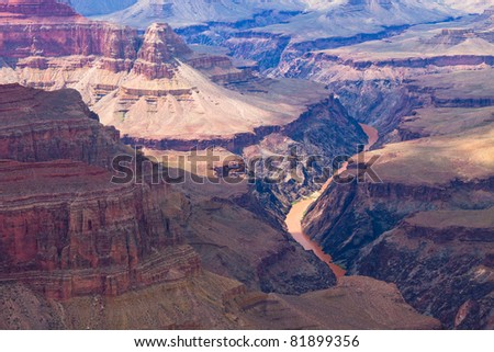 AZ-Grand Canyon S Rim-West Rim Trail-This is a Colorado River view from Pima Point. - stock photo