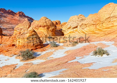 AZ-UT-N. Coyote Buttes-The Wave-This is a spectacular, remote area, of swirling rock formations. - stock photo