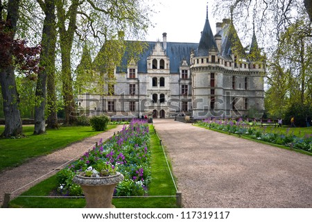 Azay-le-Rideau castle, Loire Valley, France. This castle was built in the XVIth century on an island among the Indre river. - stock photo