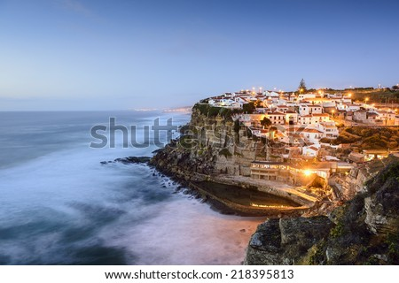 Azenhas Do Mar, Sintra, Portugal townscape on the coast. - stock photo