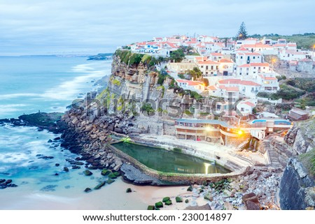 Azenhas do Mar village at dusk, Sintra Portugal - stock photo