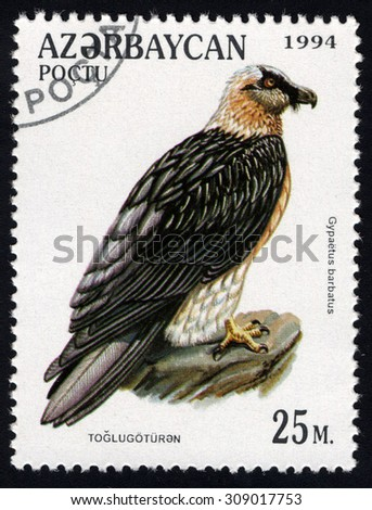 AZERBAIJAN - CIRCA 1994: A stamp printed in Azerbaijan shows Lammerfeier (Gypaetus barbatus), circa 1994 - stock photo