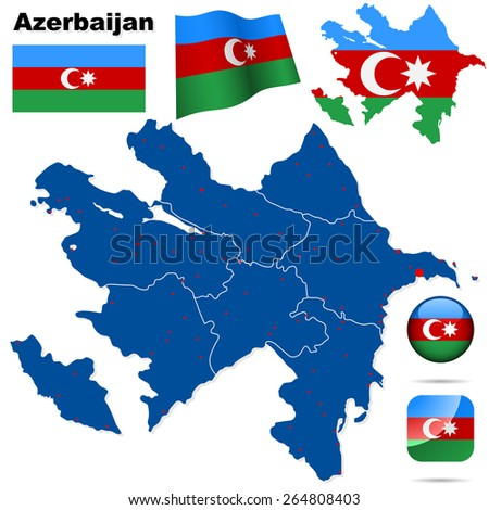 Azerbaijan set. Detailed country shape with region borders, flags and icons isolated on white background. - stock photo