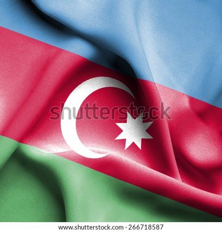 Azerbaijan waving flag - stock photo