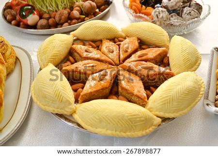 Azerbaijani baklava and shekerbura closeup - stock photo