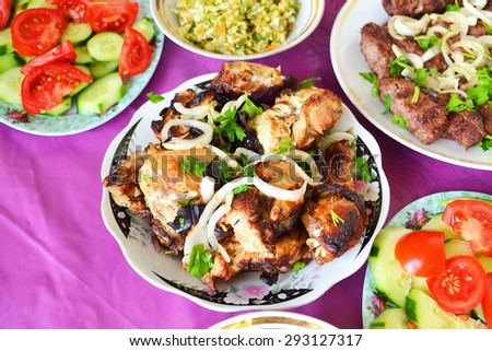 Azerbaijani chicken skewers - stock photo