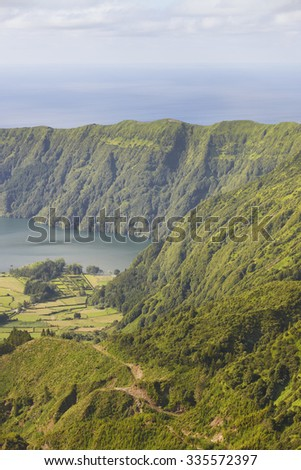 Azores landscape with lake and ocean in Sao Miguel, Azores. Portugal - stock photo