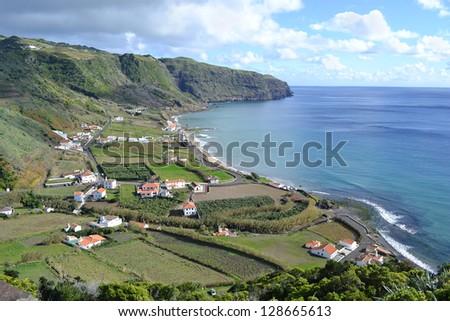 Azores, Santa Maria, Praia Formosa - rocky coastline, beach with white sand - stock photo