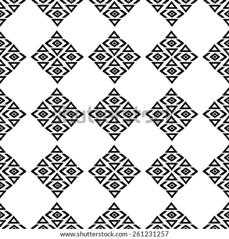 Aztec tribal art seamless pattern in black and white. Ethnic mexican monochrome print. Folk repeating background texture - stock photo