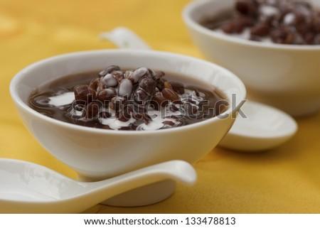 Azuki or Adzuki Bean Porridge w Coconut Santan; Non sharpened file - stock photo