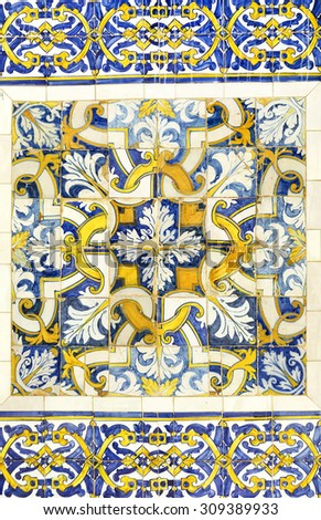 Azulejo - portuguese ceramic tiles background - stock photo