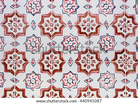 Azulejo portuguese ceramic tiles background - stock photo