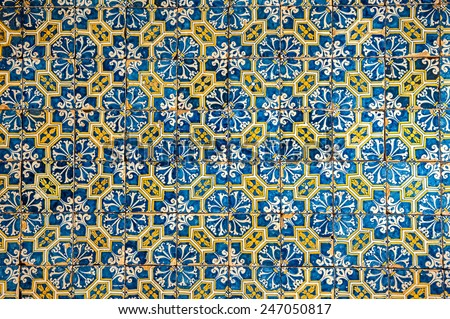 Azulejos, traditional Portuguese tiles - stock photo
