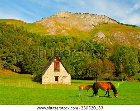 AZUN Valley in the high French Pyrenees - stock photo