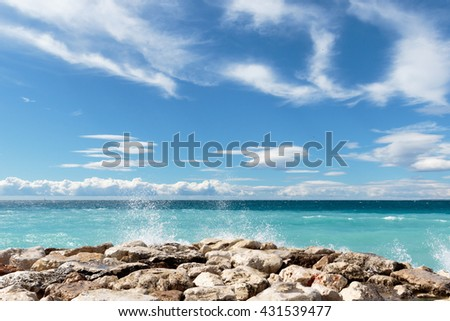 AZUR VII - view over the 'Baie des Anges' in Nice on the French Riviera. - stock photo