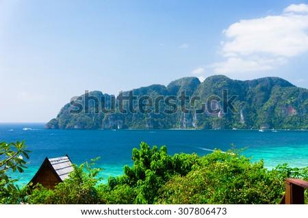 Azure Bay Exotic Backdrop  - stock photo