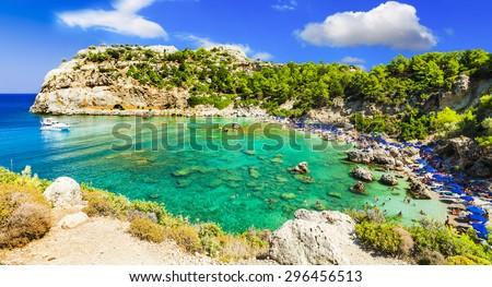 azure beautiful  beaches of Rhodes island, Greece - stock photo