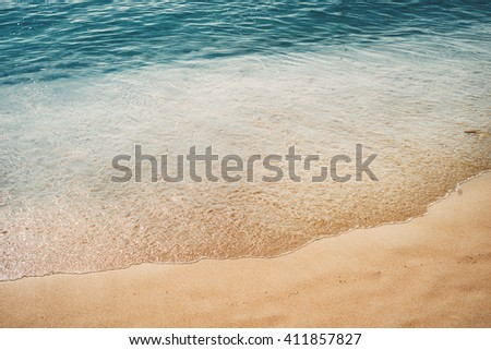 Azure blue sea. White clean sand. tropical beach. Travel inspiration. Vacation concept. Perspective view.  - stock photo