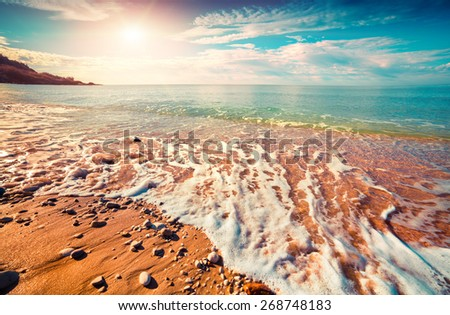 Azure Mediterranean sea at sunny morning. Location Makauda, Sciacca. Sicilia, southern Italy, Europe. Instagram toning. - stock photo
