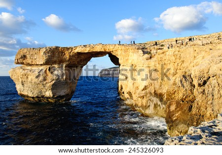 Azure Window, famous stone arch of Gozo island in the sun in the winter Malta - stock photo