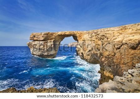 Azure Window on Gozo Island, Malta - stock photo