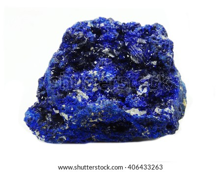 azurite semiprecious geological crystal isolated - stock photo