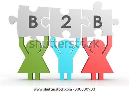 B2B - Business to Business puzzle in a line image with hi-res rendered artwork that could be used for any graphic design. - stock photo
