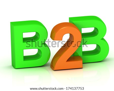 B2B 3d word colour bright letter on white background - stock photo