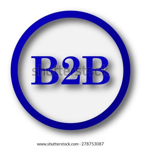 B2B icon. Blue internet button on white background.  - stock photo