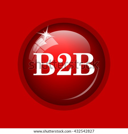B2B icon. Internet button on red background.