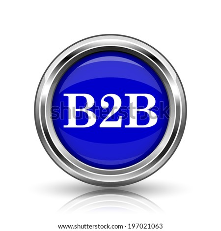 B2B icon. Shiny glossy internet button on white background.  - stock photo