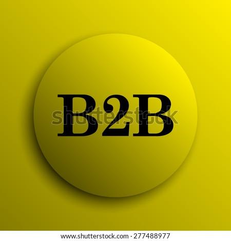 B2B icon. Yellow internet button.  - stock photo