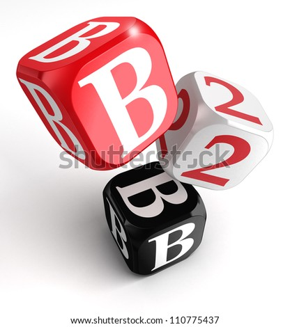 b2b red white black box on white background - stock photo