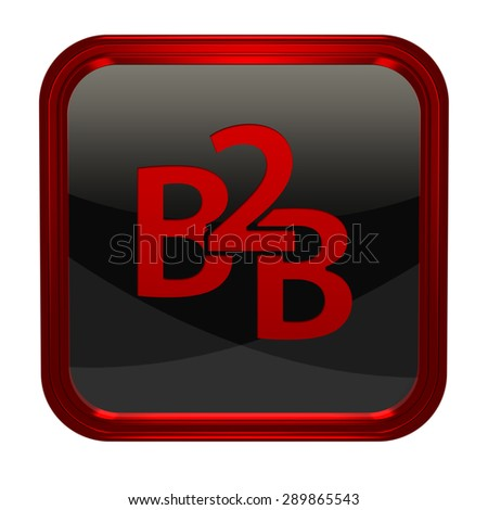 B2B square icon on white background - stock photo