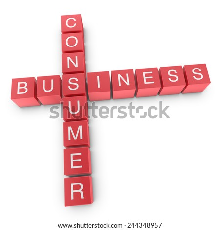 B2C Business To Consumer Concept, 3D Illustration - stock photo