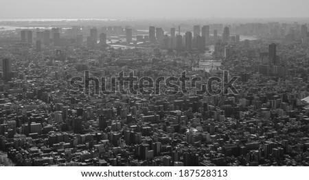 B&W Panoramic view of Tokyo in Japan - stock photo