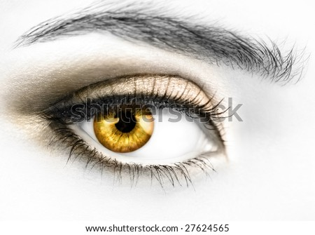 B&W photo of a right woman's eye with colored golden eyeball - stock photo