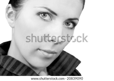 B&W portrait of beautiful black hair girl 2 - stock photo
